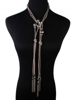 Woven Faux Leather Rope Chains Necklace - Gray