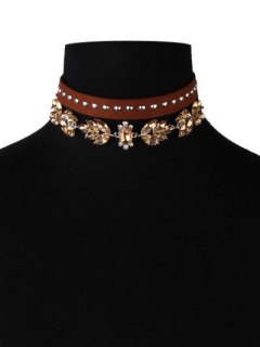 Faux Leather Velvet Rivets Crystal Chokers - Brown