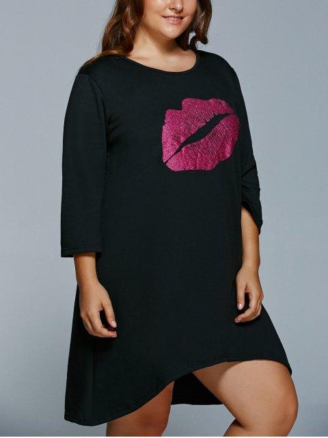 new Lip Print Plus Size Shift Dress - BLACK 2XL Mobile