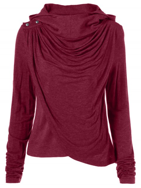 chic Draped Hoodie - WINE RED L Mobile