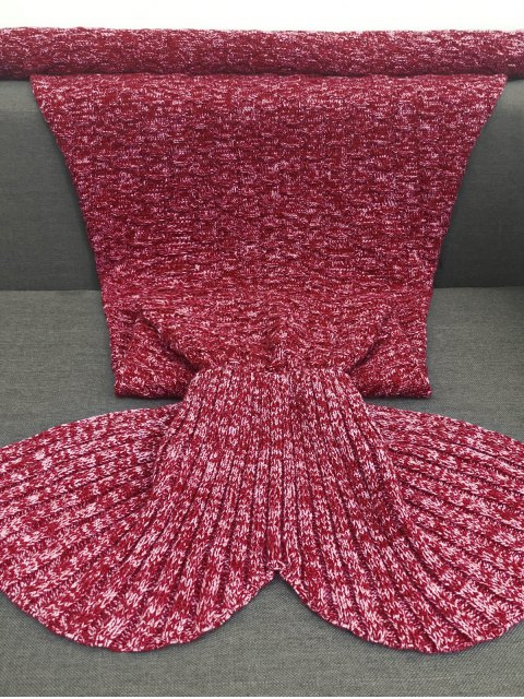outfit Acrylic Knitted Sofa Mermaid Tail Style Blanket - RED  Mobile