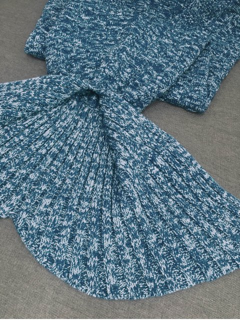 shop Acrylic Knitted Sofa Mermaid Tail Style Blanket - LIGHT BLUE  Mobile