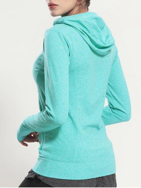 fashion Zip Through Sports Hoodie - MINT GREEN L Mobile