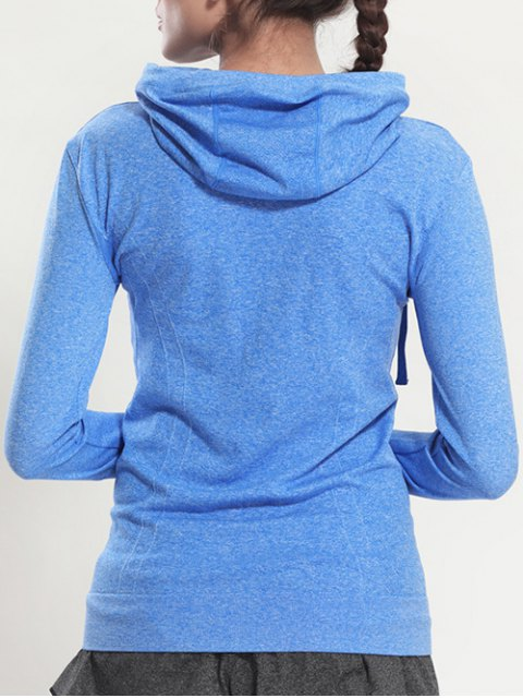 buy Zip Through Sports Hoodie - BLUE S Mobile