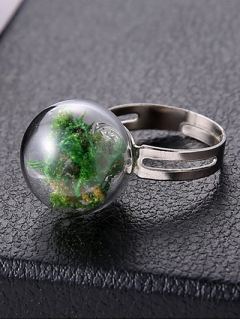 online Dry Plant Glass Ball Cuff Ring - GREEN ONE-SIZE Mobile