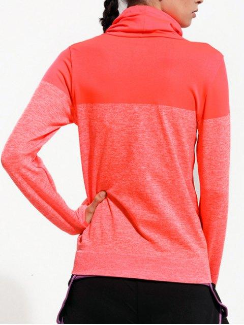 trendy High Collar Sports T-Shirt - ORANGE RED S Mobile