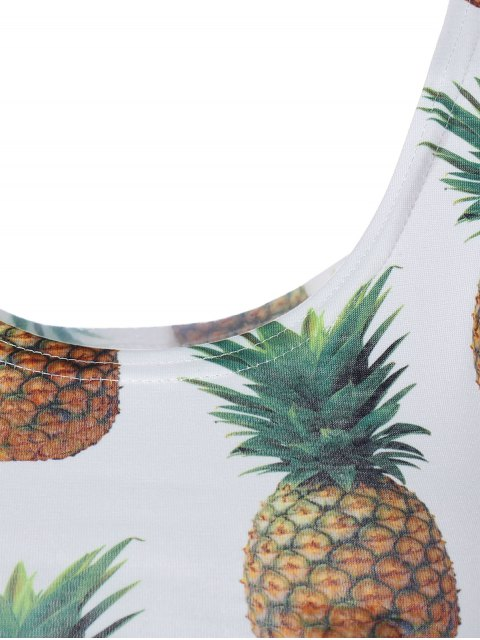 buy Pineapple Print Cropped Tank Top - WHITE ONE SIZE Mobile