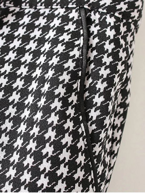 sale Houndstooth Tapered Trousers - WHITE AND BLACK L Mobile