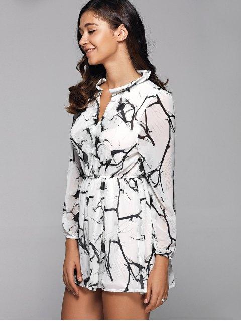 hot Ruff Collar Long Sleeve Chinese Painting Print Shirt Dress - WHITE M Mobile