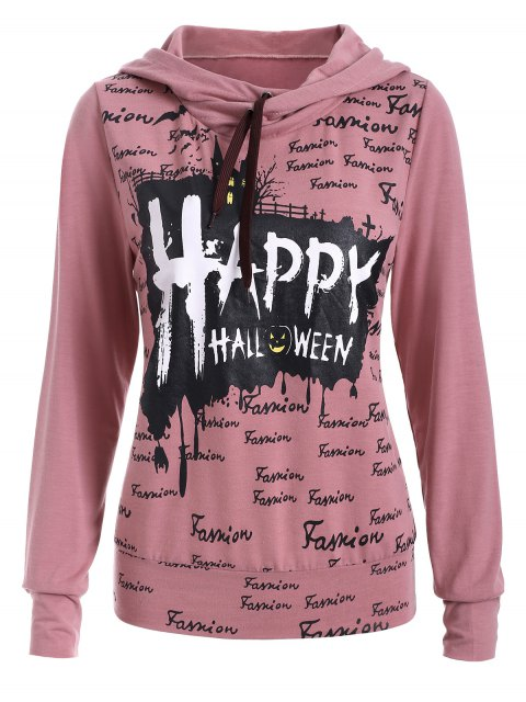 womens Lettering Hoodie - PINK L Mobile