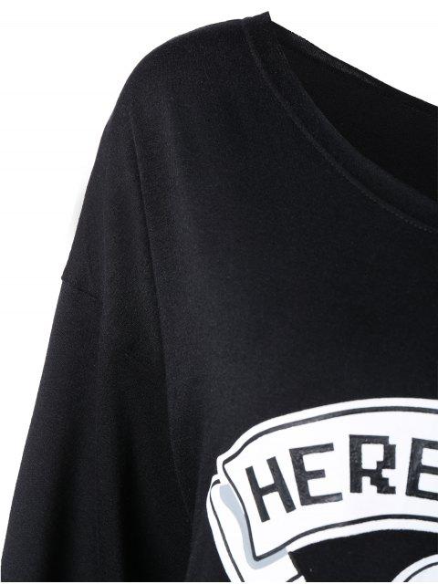 ladies One Shoulder Sweatshirt - BLACK XL Mobile