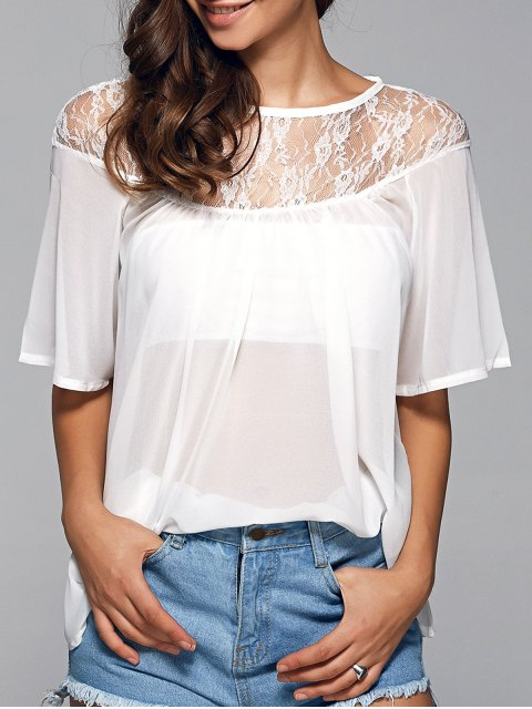best Round Neck See-Through Lace Spliced Blouse - WHITE S Mobile