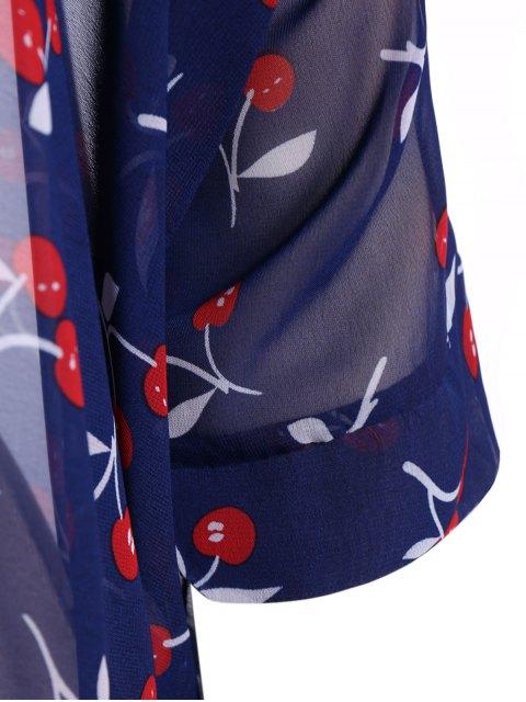 new Round Neck Cherry Print Plus Size Chiffon Blouse - BLUE XL Mobile