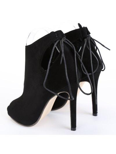 Hollow Out Tie Up Black Peep Toe Shoes - BLACK 39 Mobile