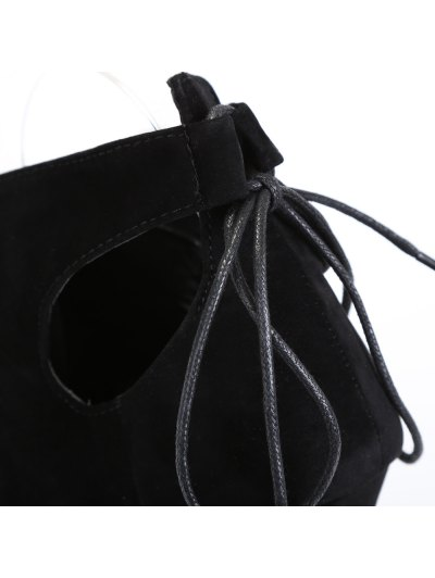 Hollow Out Tie Up Black Peep Toe Shoes - BLACK 37 Mobile