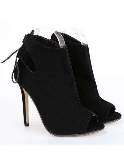 Hollow Out Tie Up Black Peep Toe Shoes - BLACK 38 Mobile