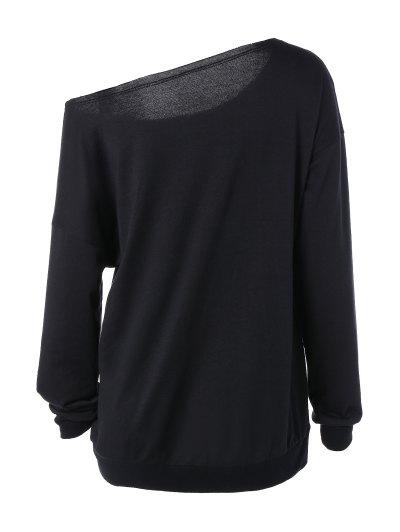 One Shoulder Sweatshirt - BLACK M Mobile