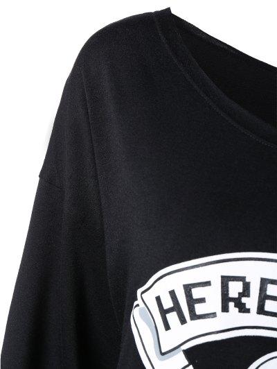 One Shoulder Sweatshirt - BLACK S Mobile
