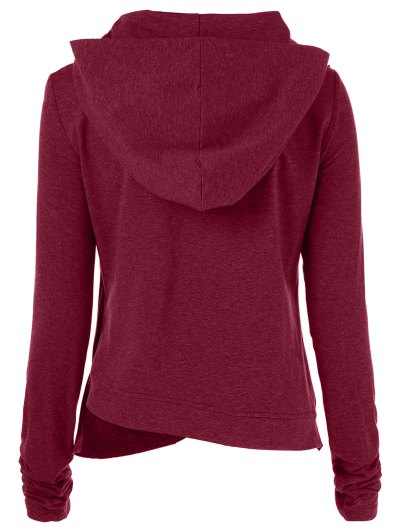 Draped Hoodie - WINE RED S Mobile