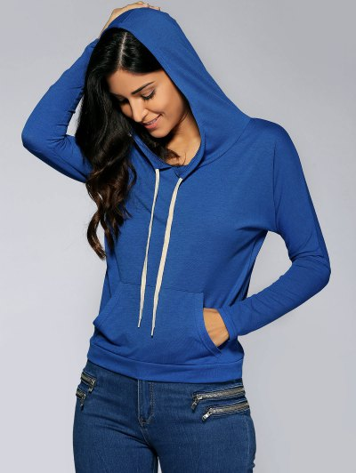 Front Pocket Hoodie - SAPPHIRE BLUE L Mobile