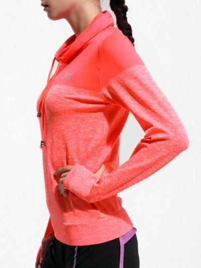 High Collar Sports T-Shirt - ORANGE RED S Mobile