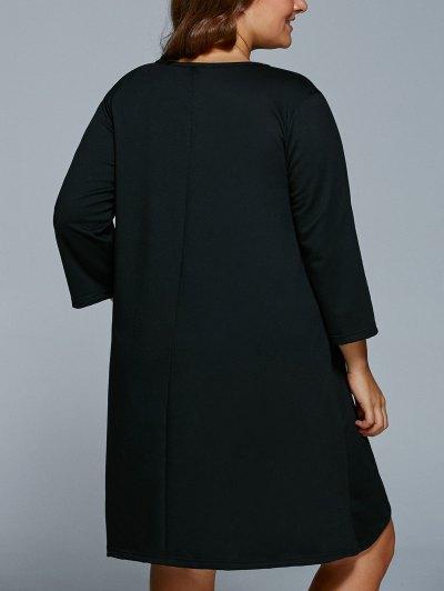 Lip Print Plus Size Shift Dress - BLACK 2XL Mobile