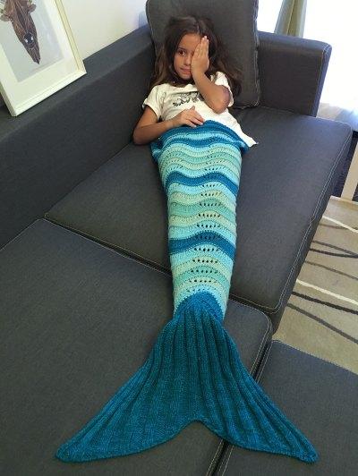 Knitted Openwork Mermaid Blanket - DEEP BLUE  Mobile