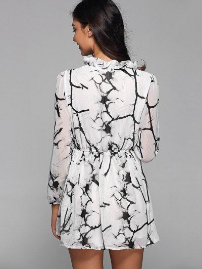 Ruff Collar Long Sleeve Chinese Painting Print Shirt Dress - WHITE M Mobile