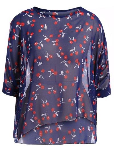 Round Neck Cherry Print Plus Size Chiffon Blouse - BLUE XL Mobile