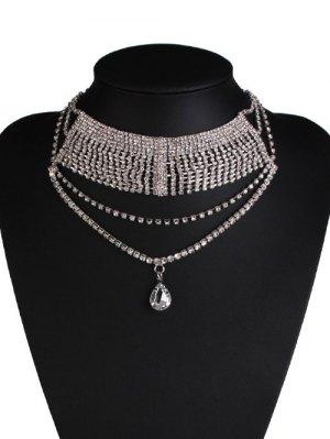 Water Drop Rhinestone Wedding Necklace Jewelry - Silver