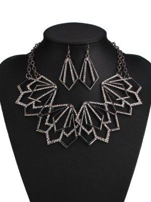 Alloy Rhinestone Geometric Necklace And Earrings - Black