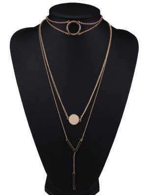 Round V Shaped Bar Alloy Pendant Necklaces - Golden