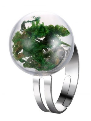 Dry Plant Glass Ball Cuff Ring - Green
