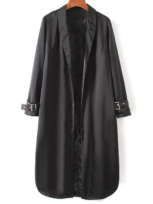 Embroidered Back Trench Coat - Black