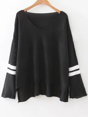 Side Slit Oversized Sweater - Black