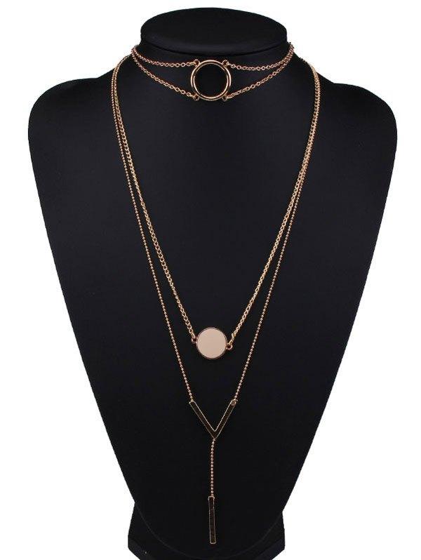 Alloy Round V-Shaped Bar Pendant Necklaces