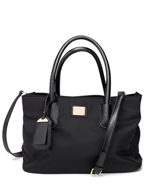 Pendant PU Leather Spliced Nylon Tote Bag