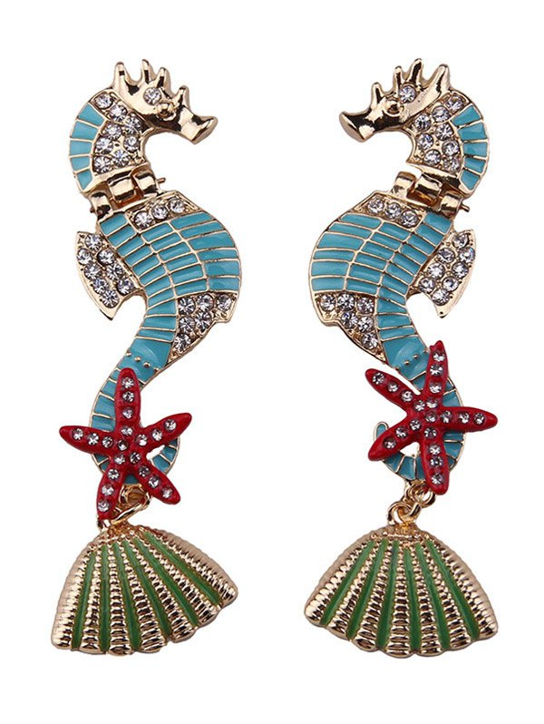 Rhinestone Starfish Conch Hippocampus Shape EarringsAccessories<br><br><br>Color: LAKE BLUE