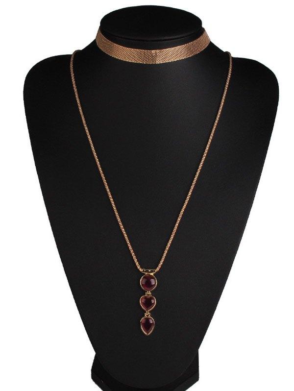Faux Ruby Alloy Heart Jewelry Set