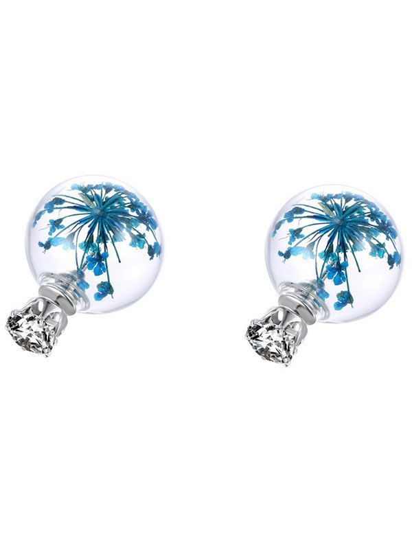 Rhinestone Glass Ball Dry Babysbreath Earrings