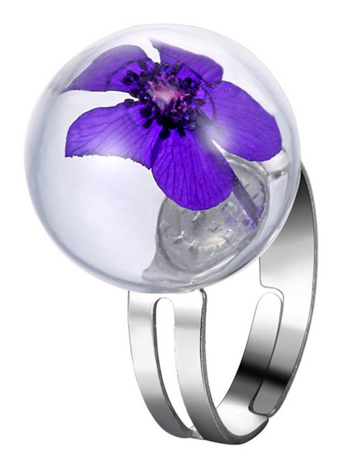 Glass Ball Dry Flower Cuff Ring