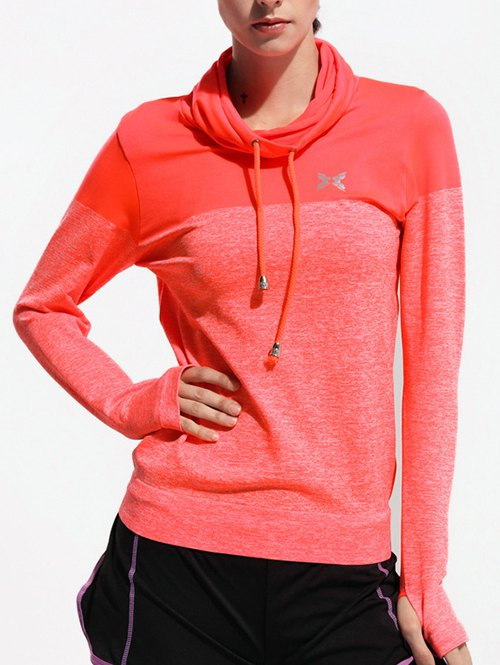 High Collar Sports T-ShirtClothes<br><br><br>Size: S<br>Color: ORANGE RED