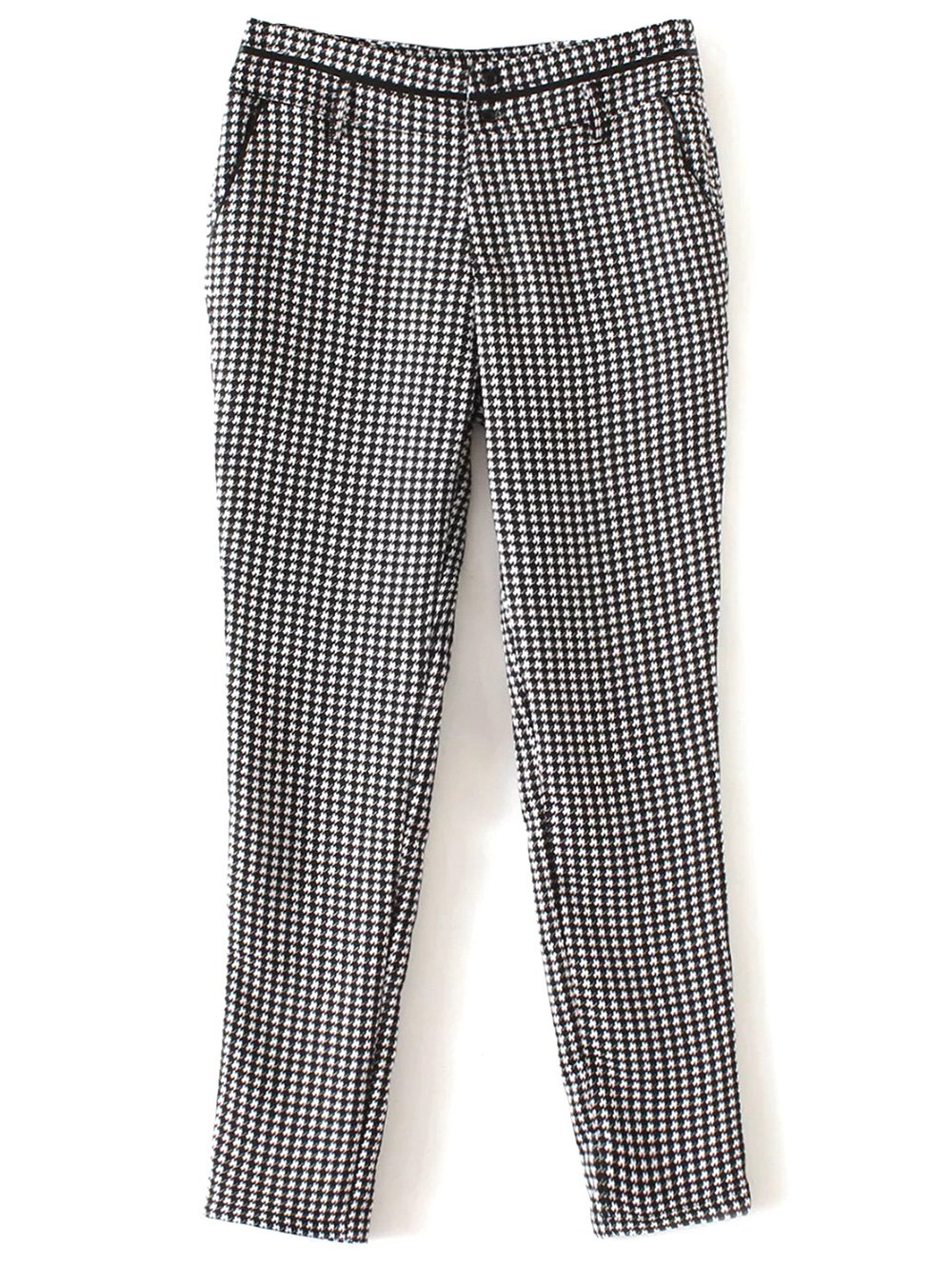 Houndstooth Tapered TrousersClothes<br><br><br>Size: XL<br>Color: WHITE AND BLACK