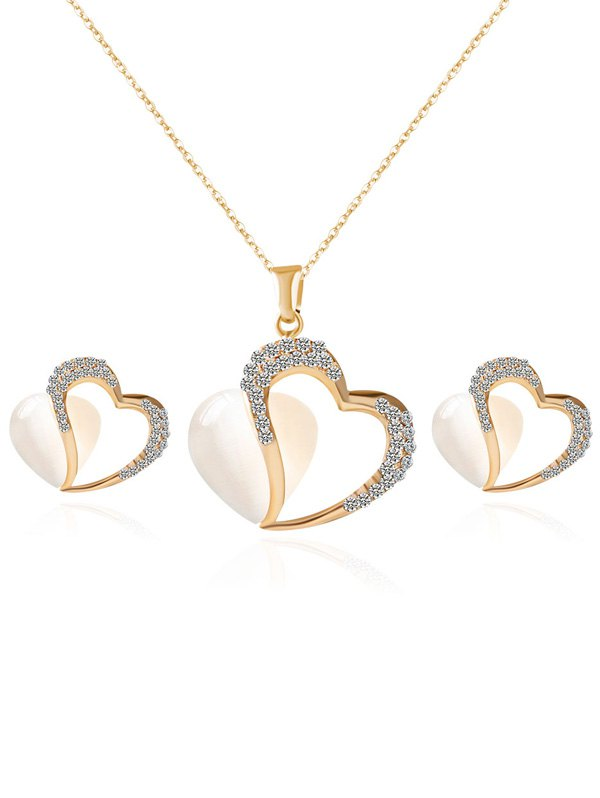 Rhinestone Faux Opal Heart Jewelry Set