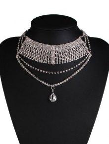 Water Drop Rhinestone Wedding Necklace Jewelry