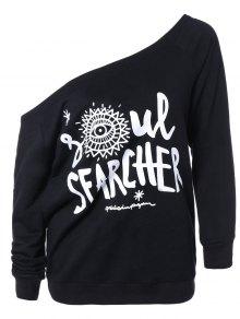 Buy One Shoulder Pullover Sweatshirt L BLACK