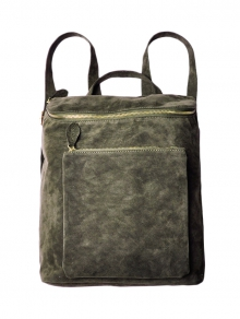 Buy Casual Zips Suede Backpack ARMY GREEN