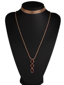 Alloy Faux Ruby Heart Jewelry Set - Golden