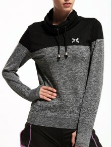 High Collar Sports T-Shirt - Gray L