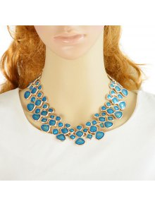 Candy Color Geometric Spelicing Openwork Necklace - BLUE